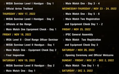 Updated Match Calendar for 2022